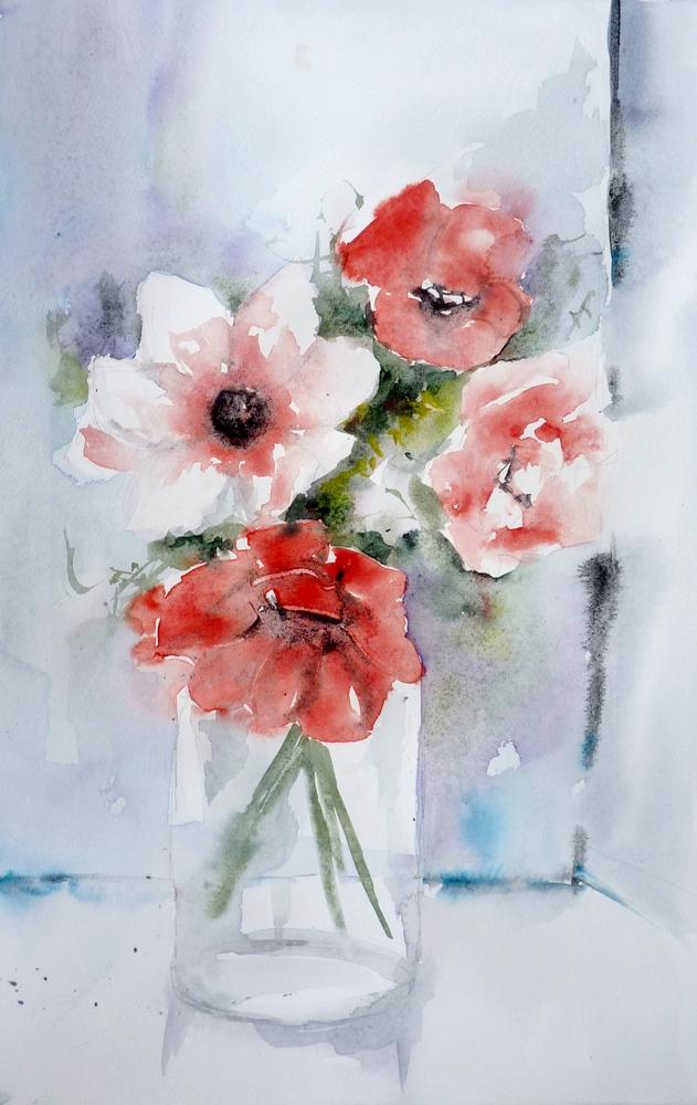 Bouquet d' anémones rouges